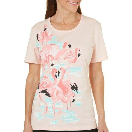 Coral Bay Petite Ocean Drive Flamingo Print T-Shirt