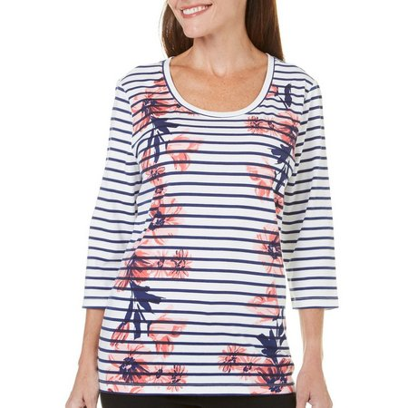 Coral Bay Petite St Augustine Floral Striped Top