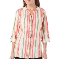 Coral Bay Petite Striped Button Front Woven Top