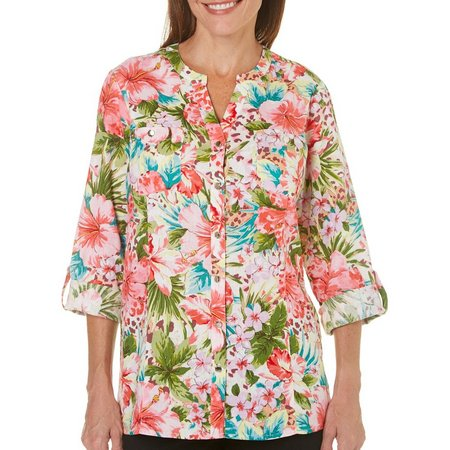 Coral Bay Petite Floral Print Button Up Top