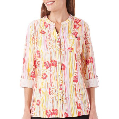Coral Bay Petite Floral Stripe Button Front Top