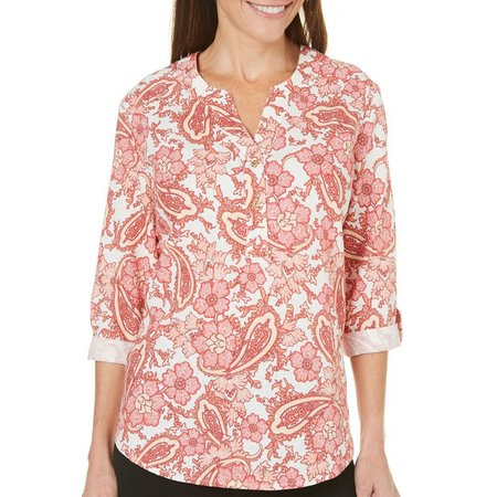Coral Bay Petite Paisley High-Low Woven Top