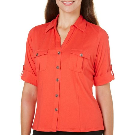 Coral Bay Petite Button Front Chest Pockets Top