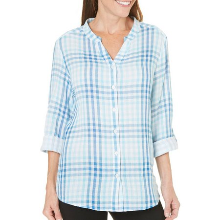 Coral Bay Petite Button Up Plaid Mandarin Top