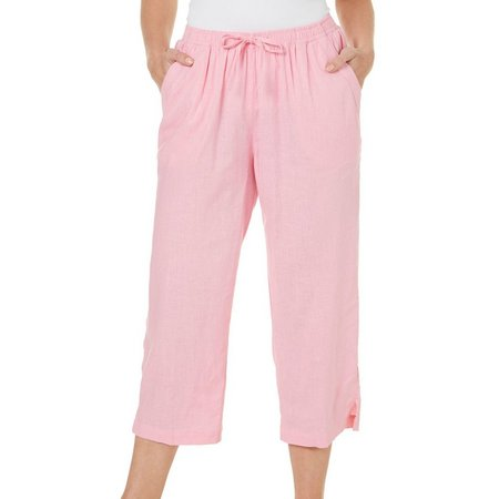 Coral Bay Petite Solid Drawstring Crop Pants