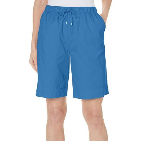 Coral Bay Petite Solid Drawstring Twill Shorts