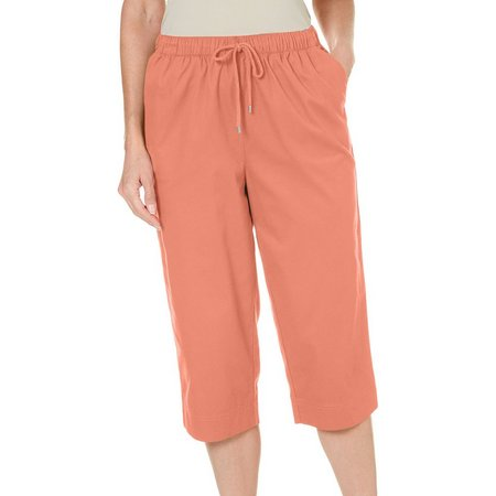 New! Coral Bay Petite Drawstring Twill Capris
