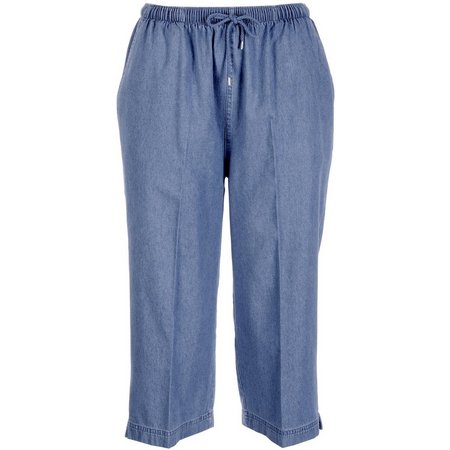 Coral Bay Petite Drawstring Denim Capris