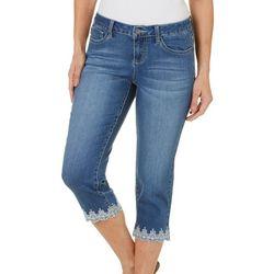 Earl Jeans Petite Embroidered Scallop Hem Capris