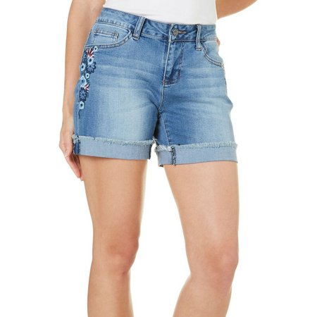 Earl Jean Petite Floral Embriodered Denim Shorts