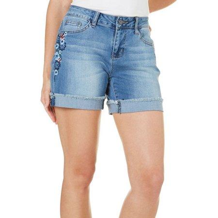 Earl Jean Petite Floral Embriodered Denim Shorts