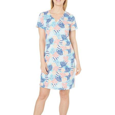 Caribbean Joe Petite Seashell Split Neck Dress