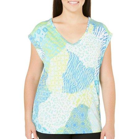 Caribbean Joe Petite Lattice Back V-Neck Shirt