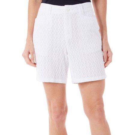 New! Caribbean Joe Petite Eyelet Shorts