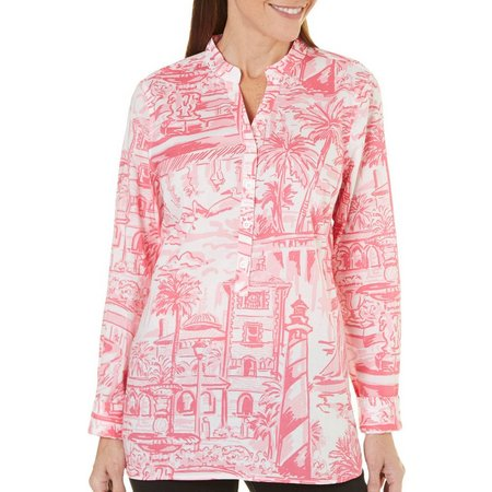 New! Caribbean Joe Petite Destination Print Button Top