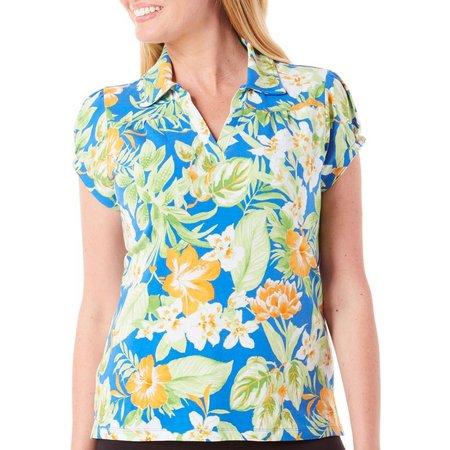 New! Caribbean Joe Petite Jungle Floral Polo Shirt