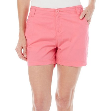 New! Caribbean Joe Petite Solid Flat Front Shorts