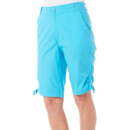 New! Caribbean Joe Petites Side Ruched Skimmer Shorts