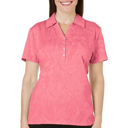 Caribbean Joe Petite Jaquard Polo Shirt