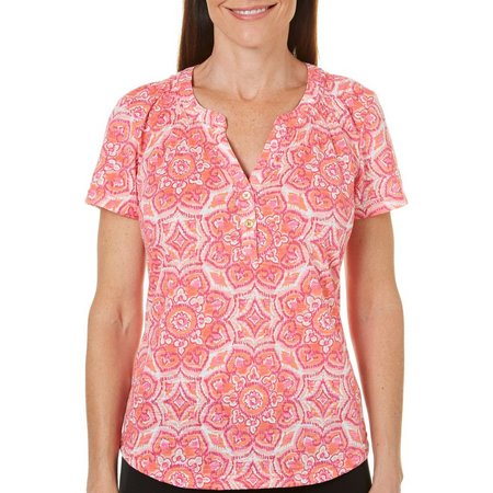 Caribbean Joe Petite Medallion Henley Top