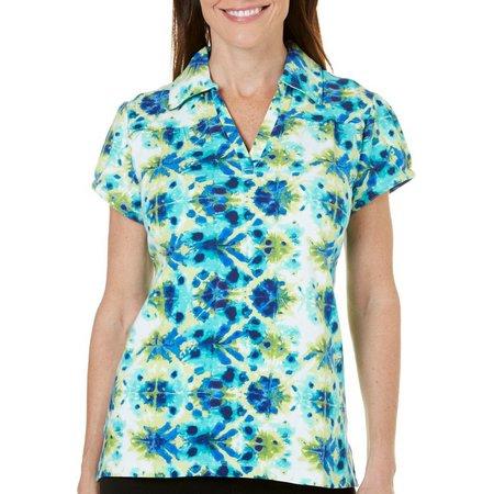 Caribbean Joe Petite Tie Dye V-Neck Polo Shirt
