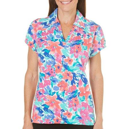 Caribbean Joe Petite Isabelle Garden Polo Shirt