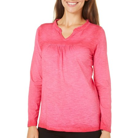 Caribbean Joe Petite Long Sleeve Solid Split Neck