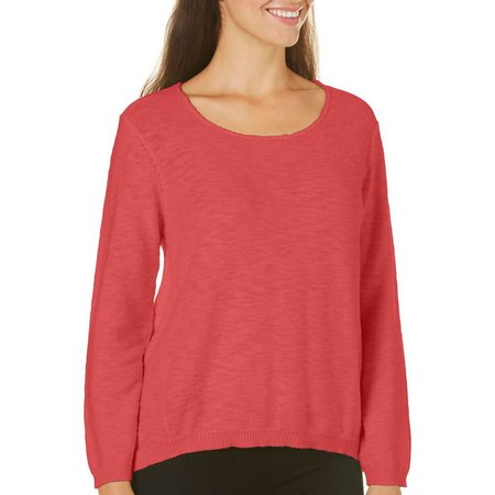 Caribbean Joe Petite Solid Round Neck Sweater