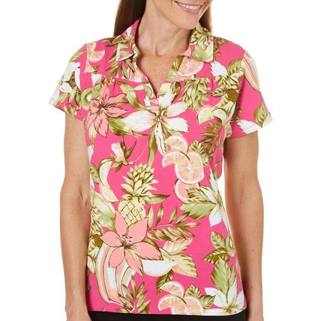 Caribbean Joe Petite Floral Tropical Fruit Print Top