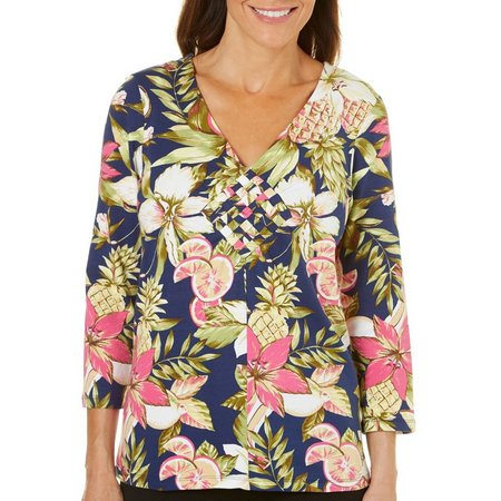 Caribbean Joe Petite Tropical Pineapple Weave V-Neck Top