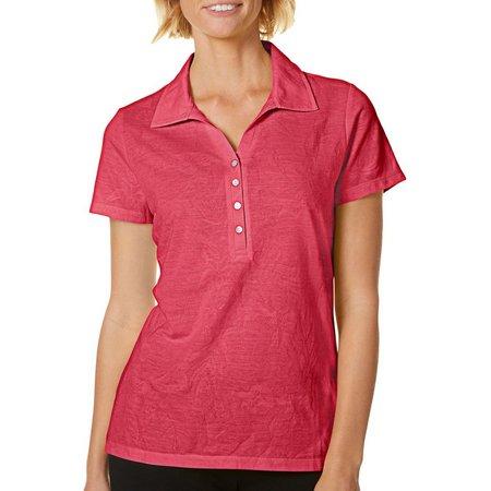 Caribbean Joe Petite Tropical Solid Print Polo Shirt