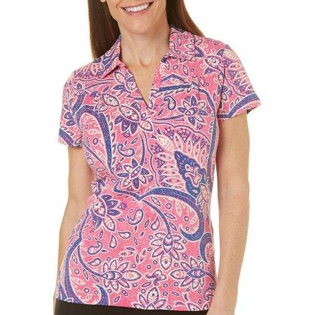 Caribbean Joe Womens Stone Paisley Polo Shirt