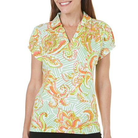 Caribbean Joe Petite Printed Polo Shirt