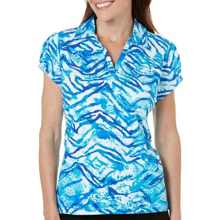 Caribbean Joe Petite Tiger Stripe Polo Shirt