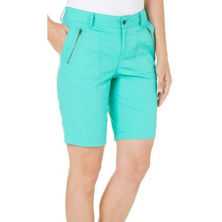 Caribbean Joe Petite Skimmer Zipper Shorts