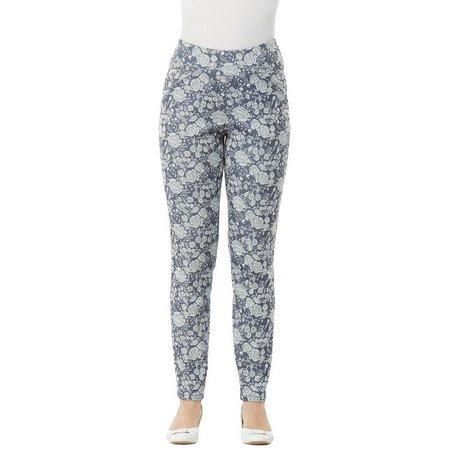 Alia Petite Floral Stretch Straight Pants