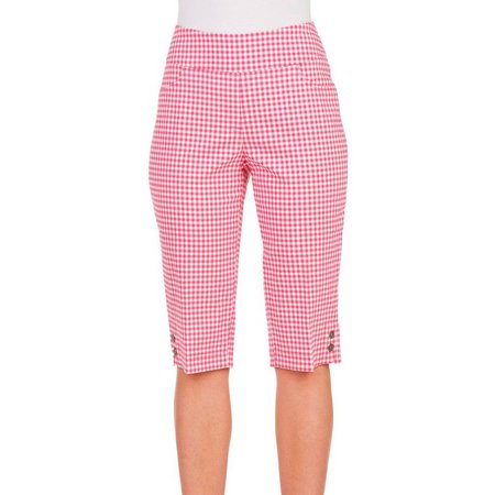 Alia Petite Gingham Tech Stretch Tummy Capris