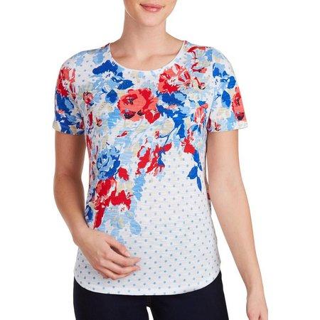 Alia Petite Floral Dot Print Top