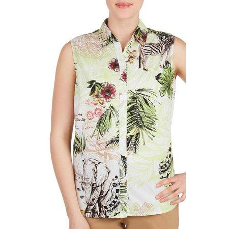 Alia Womens Safari Print Button Front Top