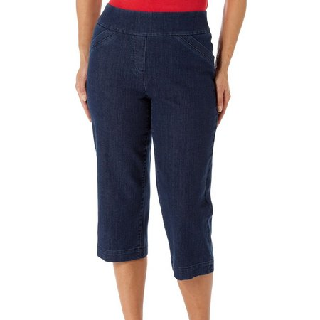 Alia Petite Diamond Denim Capris