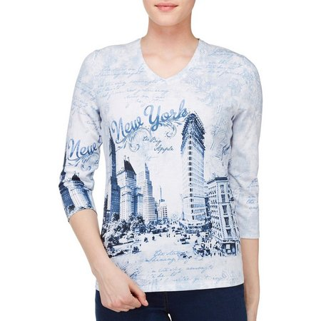 Alia Petite New York Destination Print V-Neck Top