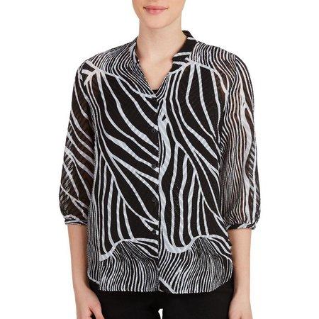 Alia Petite Mixed Zebra Print Button Front Top