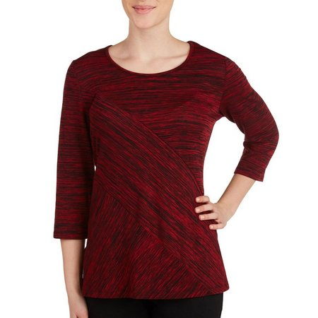 Alia Petite Spliced Space Dye Tunic Top