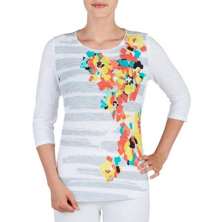 Alia Petite Floral Stripe Top