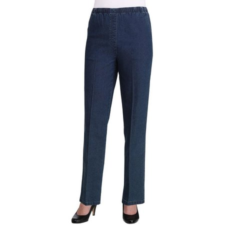 Alia Petite Chambray Denim Pull On Jeans