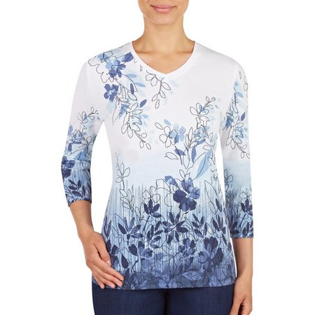 Alia Petite Floral Ombre Embellished Top