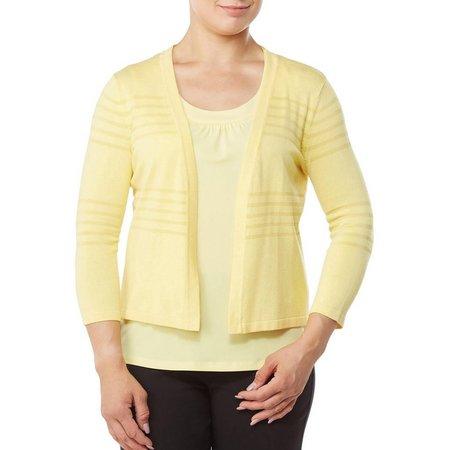 Alia Petite Textured Open Front Cardigan