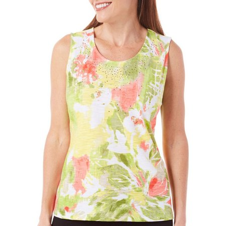 Alia Petite Watercolor Floral Print Tank Top