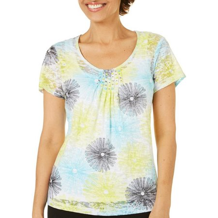 Hearts of Palm Petite Embellished Floral Print Top