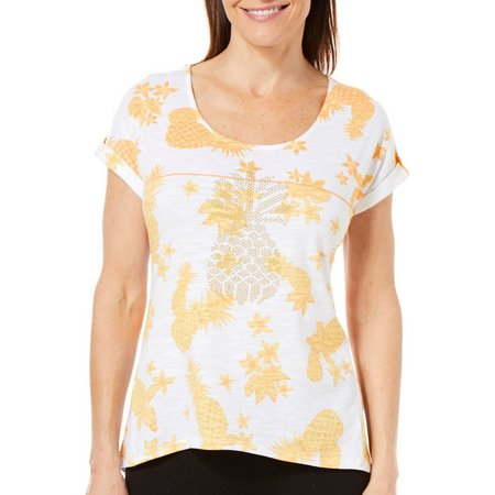 Hearts of Palm Petite Embellished Pineapple Print Top